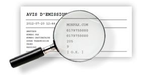 Obtenez un avis d'emission pour tous vos fax envoy�s